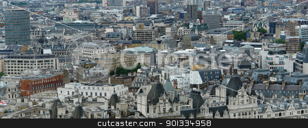 London panoramic background stock photo, full frame architectural background showing a aerial London view  by prill