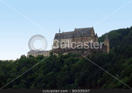 idyllic Vianden Castle stock photo, pictorial scenery showing Vianden Castle in Luxembourg at summer time by prill