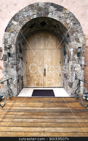 Doorway stock photo, An old doorway with a pair of wood doors by Kevin Tietz