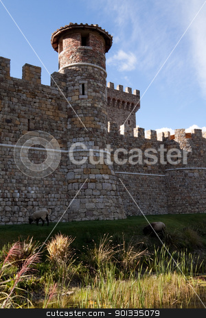 Castle Wall stock photo, A tower made of stone that is part of a castle by Kevin Tietz