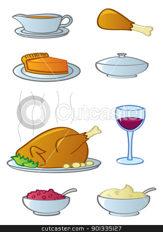 Holiday Dinner Items stock vector clipart, Common food and drink items found in the typical American Thanksgiving or Christmas dinner. by Jamie Slavy