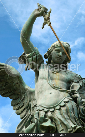 Statue of St. Michael in Rome stock photo, Statue of St. Michael on the top of Castel Sant' Angelo. by © Ron Sumners
