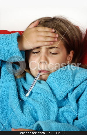 Flu or cold stock photo, Sick child with thermometer and hand on her forehead. by © Ron Sumners