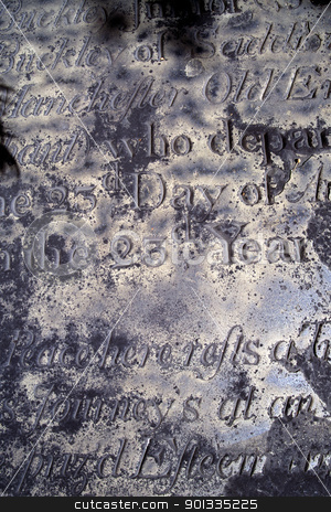 Gravestone background stock photo, Photo of an old distressed and eroded gravestone from the 1600's.  Background image for Halloween or anything spooky.  Scanned film. by © Ron Sumners