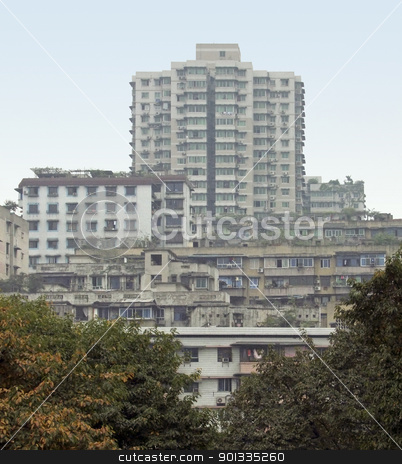 apartment buildings in Chongqing stock photo, apartment scenery around Chongqing in China by prill