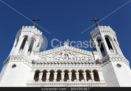 summit of cathedral stock photo, summit of lyon Cathedral and blue sky  by vwalakte