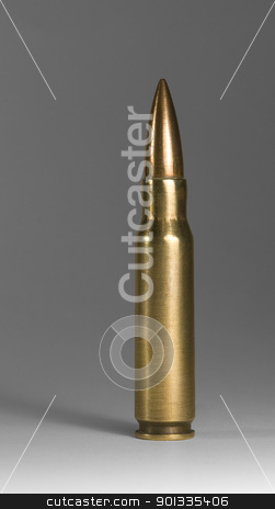 upright metallic ammunition in grey back stock photo, munitions in grey back, with clipping path by prill