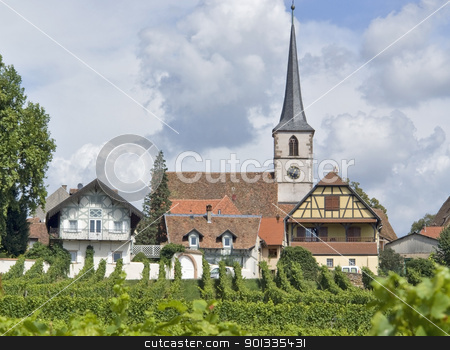 idyllic Mittelbergheim stock photo, pictorial detail of Mittelbergheim, a village of a region in France named Alsace by prill