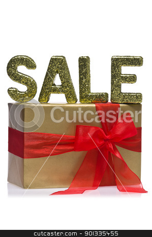 Present decorated with the word sale stock photo, Present decorated with the word sale, over white by Ulrich Schade