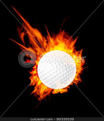 Golf ball on fire stock photo, Golf ball on fire. Illustration on black background by sermax55