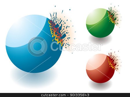 Exploding stone round stock vector clipart, Collection of colourful exploding stones with copyspace by Michael Travers