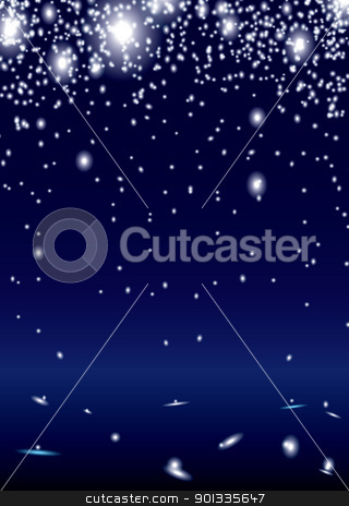 Spark shower stock vector clipart, Bright white sparks on blue background with copyspace by Michael Travers