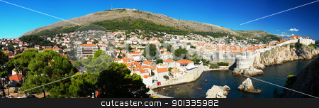 Panorama of the historic center of Dubrovnik in Croatia stock photo, Panorama of the historic center of Dubrovnik in southern Croatia. Mediterranean historic town frequently visited by tourists. by LiborF