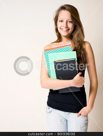 Charming young student. stock photo, Portrait of gorgeous charming young brunette student girl. by exvivo