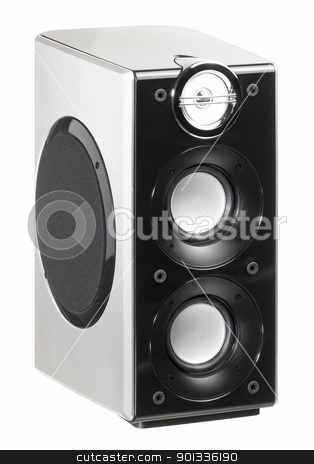 small loudspeaker stock photo, studio photography of a small speaker in white back by prill
