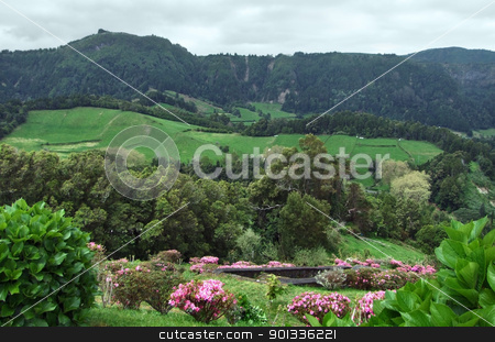 panoramic scenery at the Azores stock photo, panoramic view at Sao Miguel Island by prill