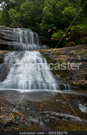 Waterfall in deep forest stock photo, The beautiful waterfall in forest, spring, long exposure, Lady Barron Falls, Mount Field National Park, in Tasmania Australia, Mt by Ulrich Schade