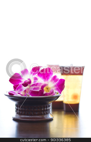 Spa ingredients and orchid flowers  stock photo, Spa ingredients and orchid flowers in front of a white background by Ulrich Schade