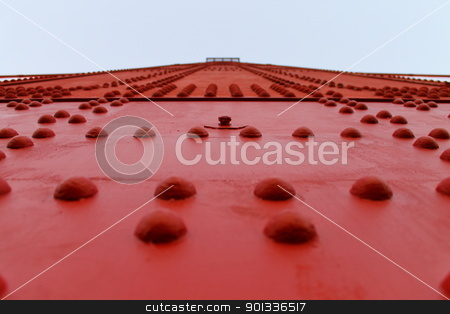 Red Bridge stock photo, Macro of a part of the Golden Gate Bridge in San Francisco by willeye