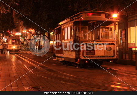 Cable Car Night stock photo, Cable Car shot in San Francisco, Powell stop by willeye