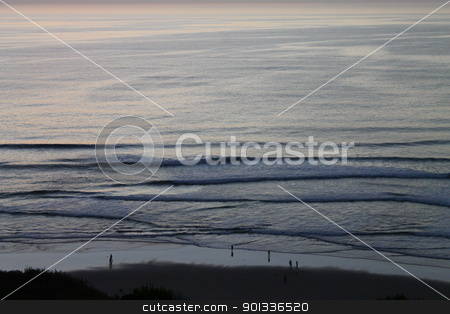 People and the ocean stock photo, People and the sea in Half Moon Bay, California by willeye