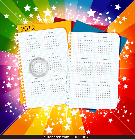Calendar 2012 stock vector clipart, Paper calendar 2012 on star burst background, week starts with sunday, eps10 vector illustration by Milsi Art