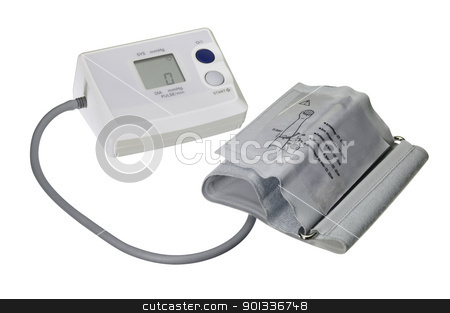 blood pressure meter stock photo, studio photography of a blood pressure meter isolated on white, with clipping path by prill