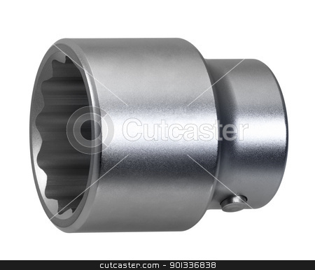 glossy socket wrench stock photo, studio photography of a clean and glossy socket wrench in white back by prill
