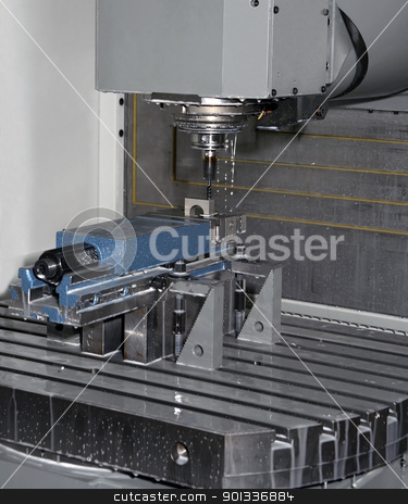 metal milling machine stock photo, industrial workplace with millcut machine including milling head by prill