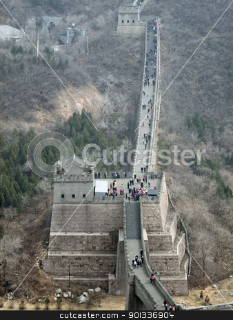Great Wall of China stock photo, the Great Wall of China near Badaling in misty ambiance by prill