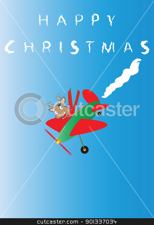 Rudolf the Reindeer stock photo, Rudolf the Reindeer  in a cartoon plane Sky Writing Happy Christmas suitable for Greeting Card or Gift Wrap Portrait Format by d40xboy