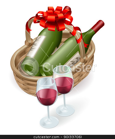 Wicker wine basket stock vector clipart, Illustration of wicker wine basket with red wine bottle and glasses and decoration ribbon and bow. by Christos Georghiou
