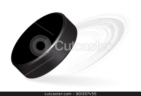 Hockey Puck stock photo, Hockey Puck with rubber texture Isolated on White Background. Vector by sermax55