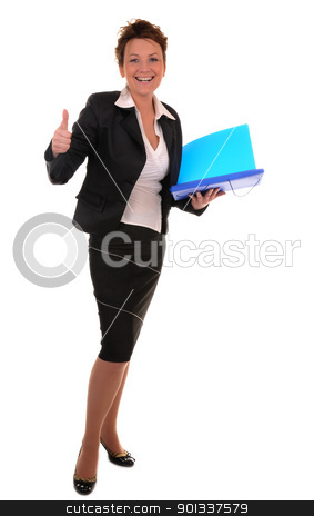 Business attitude stock photo, Atractive business woman with documents shows alright gesture on white background by Iryna Rasko