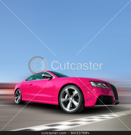 Race car stock photo, red sports car on a colorful background by Viktor Thaut