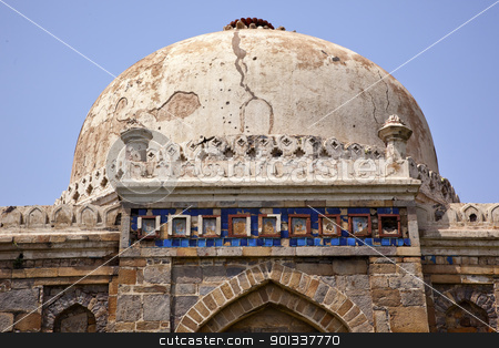 Ancient Dome Sheesh Shish Gumbad Tomb Lodi Gardens New Delhi Ind stock photo, Large Ancient Dome Sheesh Shish Gumbad Tomb Lodi Gardens New Delhi India by William Perry