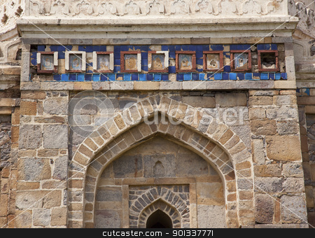 Islamic Decorations Sheesh Shish Gumbad Tomb Lodi Gardens New De stock photo, Ancient Islamic Decorations Sheesh Shish Gumbad Tomb Lodi Gardens New Delhi India by William Perry