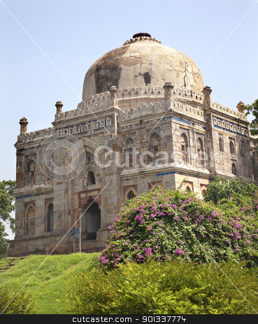 Sheesh Shish Gumbad Tomb Lodi Gardens New Delhi India stock photo, Large Ancient Dome Sheesh Shish Gumbad Tomb Lodi Gardens New Delhi India by William Perry