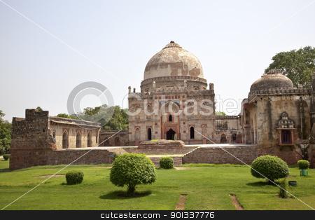 Bara Gumbad Tomb Lodi Gardens New Delhi India stock photo, Ancient Bara Gumbad Tomb Lodi Gardens New Delhi India by William Perry