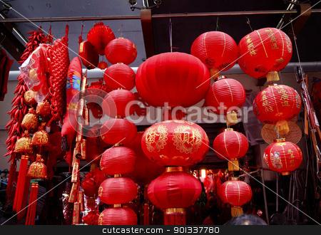 Chinese Red Lanterns Decorations Yuyuan Shanghai China stock photo, Chinese Red Paper Lanterns Decorations Yuyuan Garden Shanghai China by William Perry