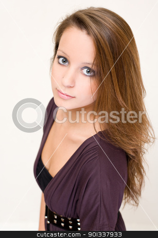 Puppy eyes stock photo, Portrait of attractive tender young brunette woman. by exvivo