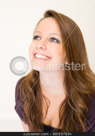 Exuberant young brunette woman. stock photo, Cloesup portrait of exuberant young brunette woman. by exvivo