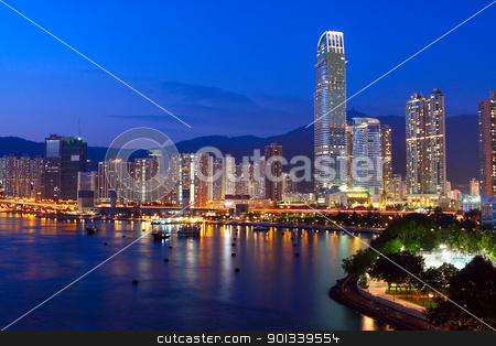Twilight blue hour at hongkong downtown.  stock photo, Twilight blue hour at hongkong downtown.  by Keng po Leung