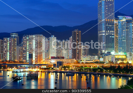 Twilight blue hour at hongkong downtown.  stock photo, Twilight blue hour at hongkong downtown.  by Keng po Leung