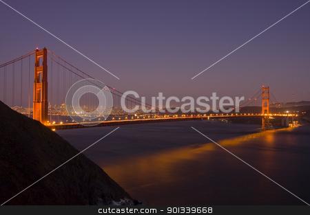 Golden Gate bridge at night stock photo, Golden Gate bridge at night by Jeffrey Banke