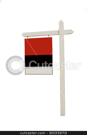 Blank Real estate sign on white stock photo, Blank Real estate sign on white background by Jeffrey Banke