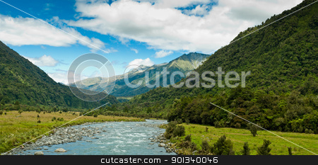 river flowing through a valley on a summer day stock photo, river flowing through a valley with mountain massive in the back ground by Ulrich Schade