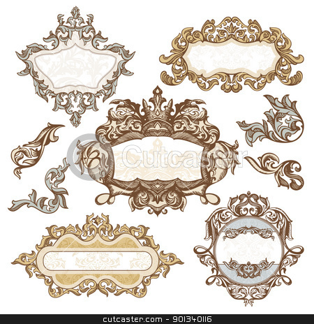 set of royal vintage frames stock vector clipart, set of royal vintage frames vector illustration by SelenaMay