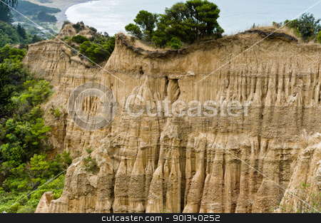 Cathedral cliffs South island of New Zealand stock photo, Cathedral cliffs South island of New Zealand, near Gore by Ulrich Schade