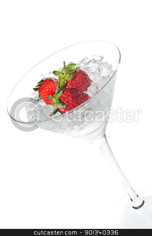 Strawberry cocktail in a martini glass stock photo, Strawberry cocktail in a martini glass over white by Ulrich Schade